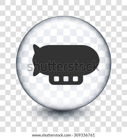 Flying Blimp on Transparent Round Button - stock vector