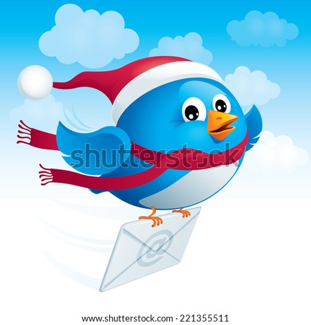 Flying blue bird in the hat santa delivers e-mail. Eps8. CMYK. Organized by layers. Global colors. Gradients used. - stock vector