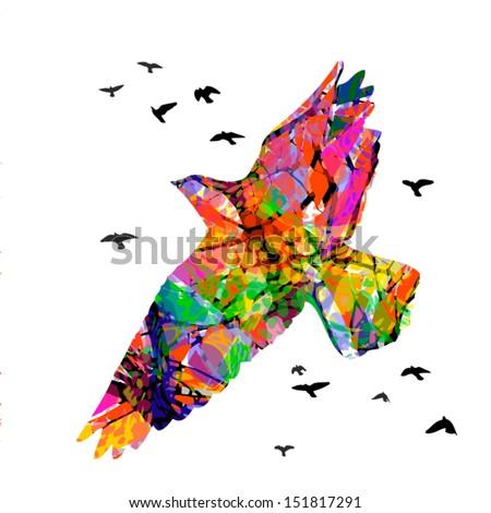 flying bright free birds - stock vector