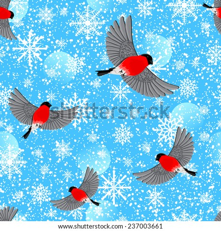 Flying bullfinches. Vector seamless pattern. - stock vector