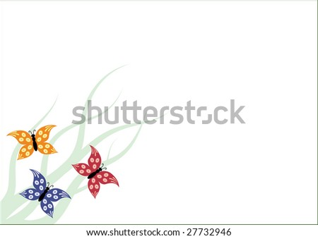Flying butterflies and grass on white background with clean space for your text - stock vector