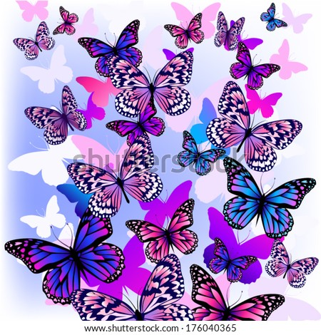 flying butterflies with hearts on wings. Vector - stock vector