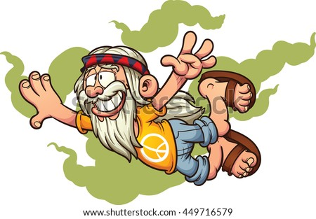 Flying cartoon hippie. Vector clip art illustration with simple gradients. Hippie and smoke on separate layers. - stock vector