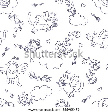 Flying cats. Seamless pattern in cartoon style.