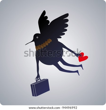 Flying character with a suitcase and a heart in his hand. travel concept - stock vector