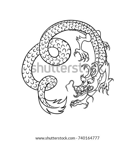 Flying Chinese Contour Japanese Dragon Hand Stock Vector 2018