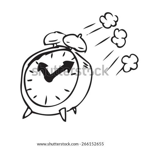 Flying Clock Doodle - stock vector