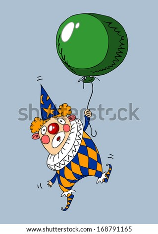 flying clown holding a balloon - stock vector