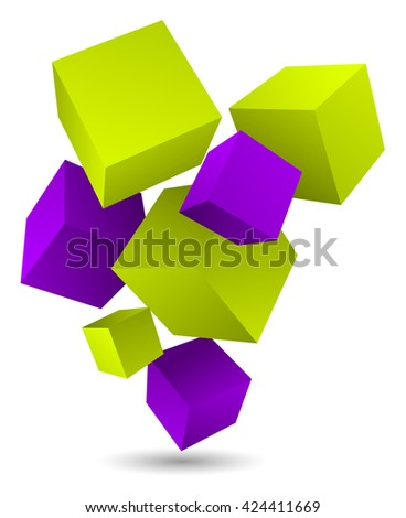 flying colored cubes abstract background - stock vector