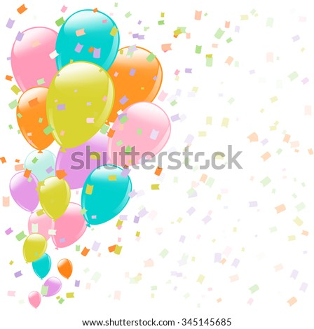 flying colorful balloons and confetti on white  background. vector - stock vector