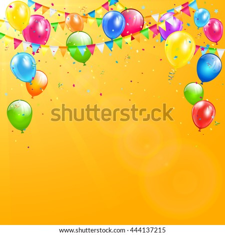 Flying colorful balloons, multicolored pennants and confetti on orange background with sunlight, illustration.