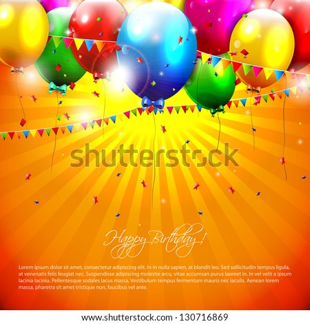 Flying colorful balloons on orange background - stock vector