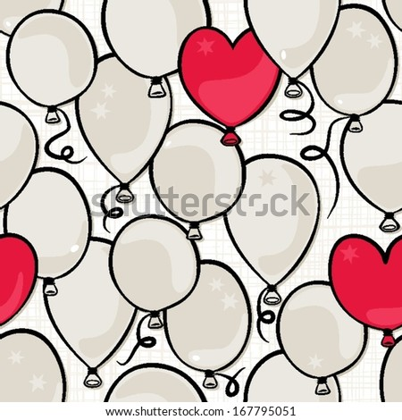 flying colorful gray and red round and heart shaped balloons party time seamless pattern on white background - stock vector
