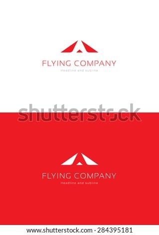 Flying company logo template. - stock vector
