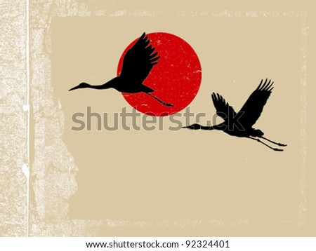 flying crane on grunge background - stock vector