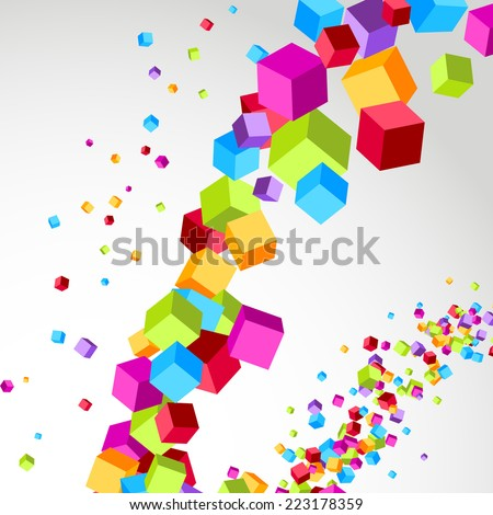 Flying cube colorful bright wave perspective swoosh line. Vector illustration