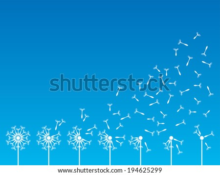Flying dandelion seeds in the wind. Vector illustration - stock vector