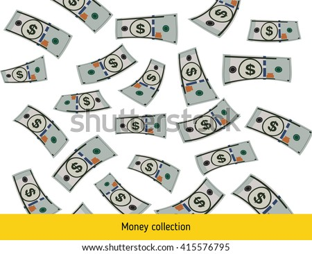 Flying dollar banknotes. Money rain. Falling dollar - stock vector