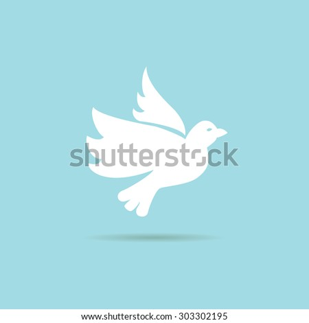 flying dove on a blue background - stock vector