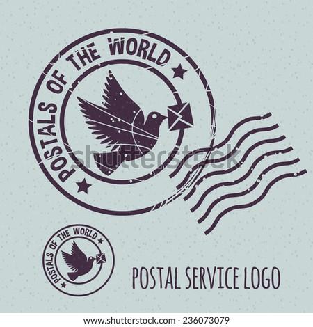 flying dove with envelope, postal postmark template logo. None stroke, cartoon flat style. Vector illustration.  - stock vector