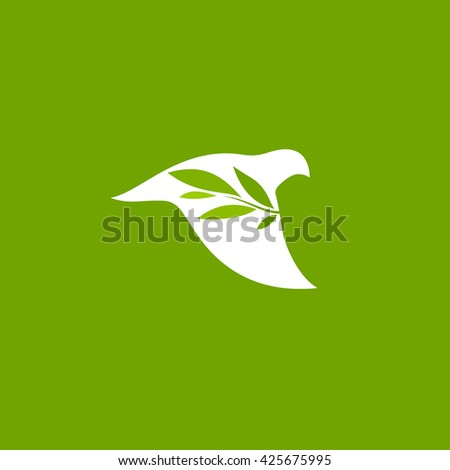 Flying dove with green branch. Flat line design style vector icon and logo - stock vector