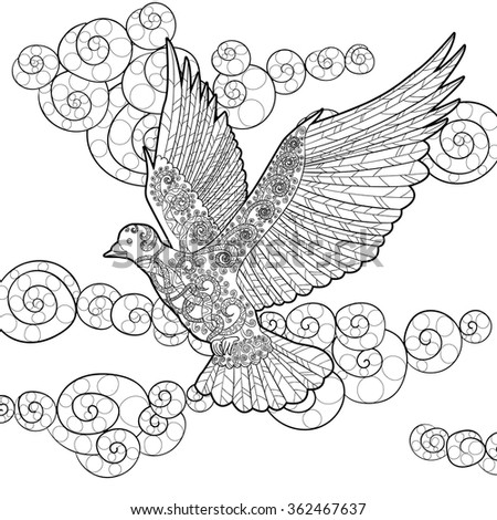 Flying Dove High Details Adult Antistress Stock Photo (Photo, Vector ...