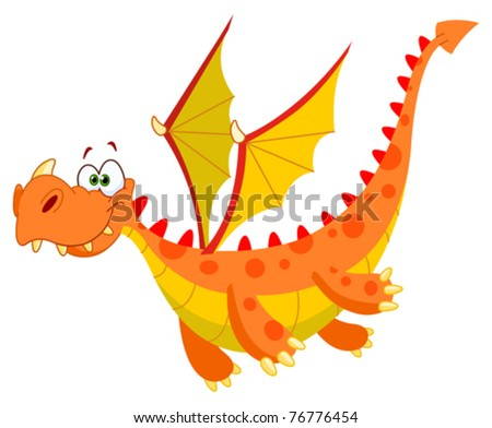 Flying dragon - stock vector