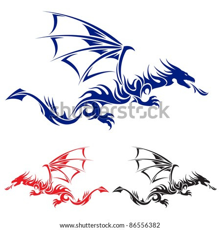 Flying Dragon. Blue, red and black Asian tattoo. Illustration on white ...