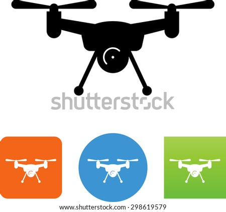 Flying drone with camera vector icons for video mobile apps web
