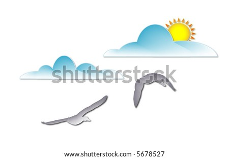 flying ducks and clouds, one with sun behind - stock vector