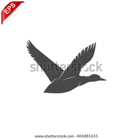 flying ducks icon, vector duck silhouette, isolated duck