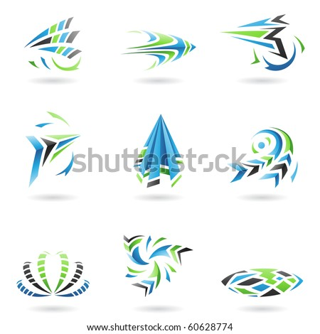 Flying Dynamic Abstract Icons isolated on a white background - stock vector