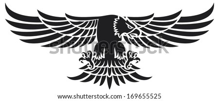 flying eagle (eagle mascot) - stock vector