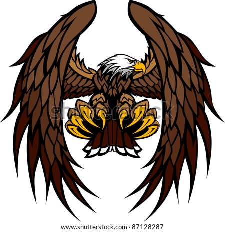 Flying Eagle with Wings and Talons Graphic Mascot Vector Image - stock vector