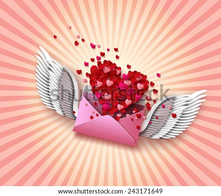 Flying envelope to Valentine's Day.paper cut style. - stock vector
