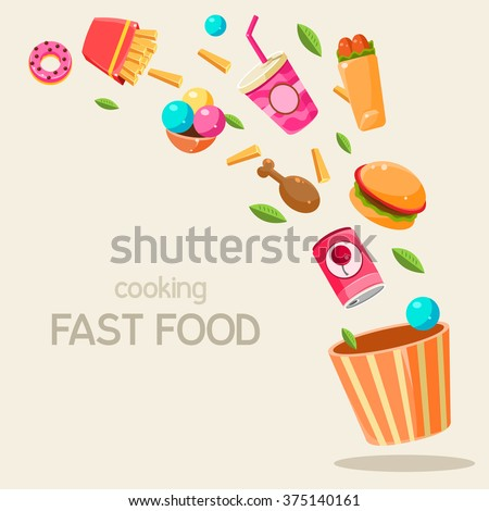 Flying Fast Food Vector Illustration Infographic. Banner with fast food  - stock vector