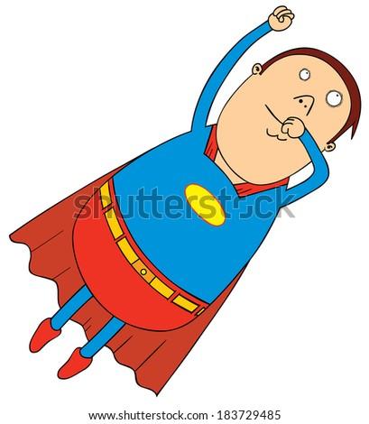 flying fat super hero - stock vector