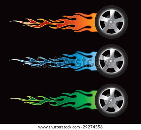flying flaming tires - stock vector
