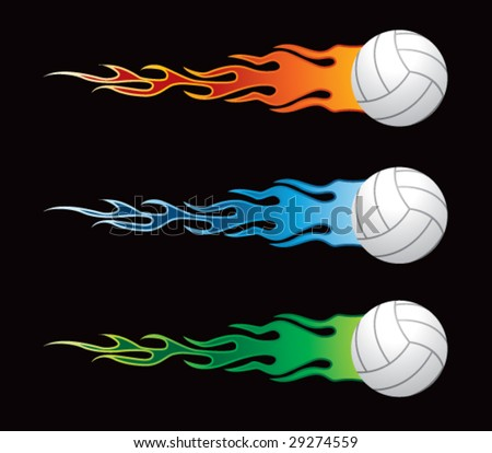 flying flaming volleyballs - stock vector