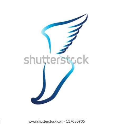 Flying foot vector - stock vector