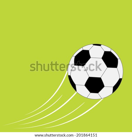 Flying football soccer ball with motion trails. Flat design style. Green background. Vector illustration