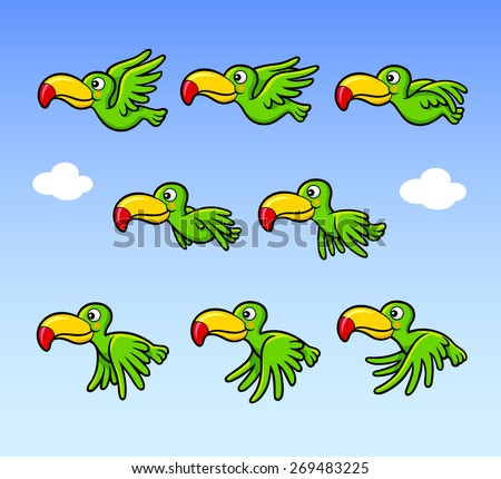 Flying happy bird cartoon character sprite sheet game asset. You can use for banner animation, games, or any design you want. Easy to use. - stock vector