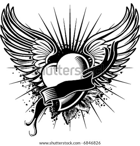 flying heart - stock vector