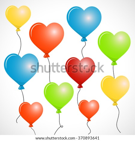 Flying Heart Balloons in various colors vector illustration