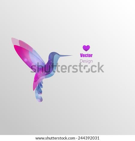 Flying hummingbird, colorful vector abstract illustration - stock vector