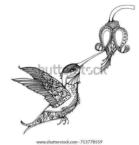 flying hummingbird hummingbird and flowers stylized bird hummingbird drinking nectar from flower - Hummingbird Flower Coloring Pages