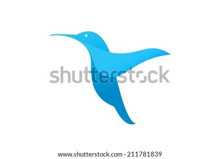 Flying hummingbird or logo template. - stock vector