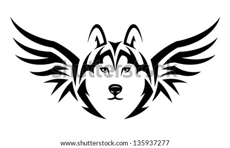flying husky dog tribal tattoo illustration stock vector 135937277 shutterstock. Black Bedroom Furniture Sets. Home Design Ideas