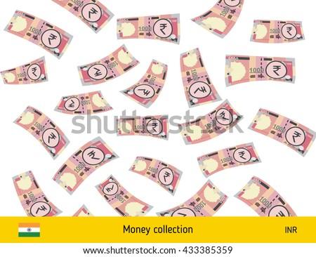 Flying Indian rupee banknote. Money rain. Falling rupee - stock vector