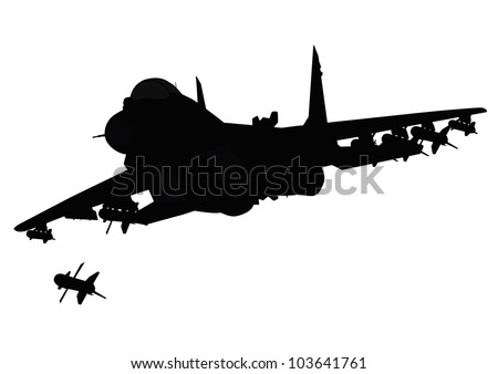 Flying jet fighter firing missile. Vector silhouette. Separate layers - stock vector